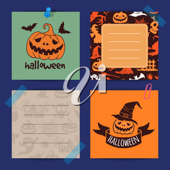 Vector halloween notes set template with witches, pumpkins, ghosts, spiders silhouettes illustration