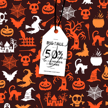 Vector halloween background with white sale tag hanging from the top and place for text. Halloween shopping banner with background illustration