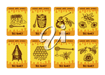 Labels design for packaging of honey products. Illustrations of honey and honeycomb. Honey sweet and bee, label banner sweet food