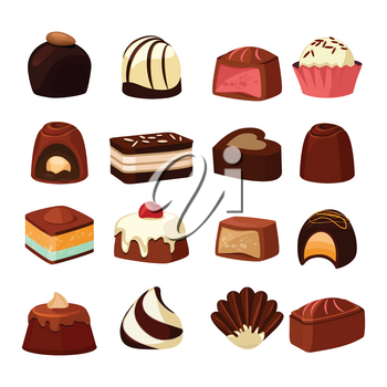 Chocolate sweets with different fillings. Vector illustrations in cartoon style. Chocolate food sweet dessert of collection
