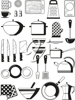 Monochrome illustrations of kitchen tools. Vector silhoette of restaurant utensil. Kitchen tool and kitchenware for cooking, spatula and cutlery