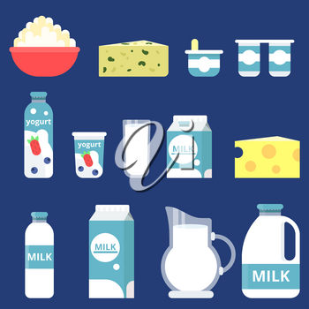 Illustrations of different milk products in flat style. Product of milk fresh in glass bottle, orgamic food for breakfast vector