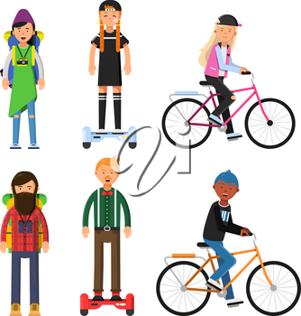 Hipsters make a trip. Bicycles riders. Vector characters set. Illustration of hipster rider on gyroscope or bicycle, healthy transport activity