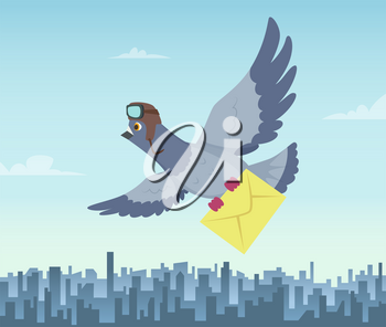 Mailing service with flying pigeons. Air delivery symbols. Vector pigeon with mail message, fly courier illustration