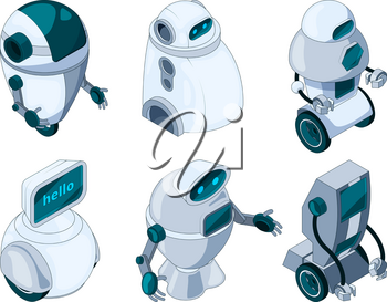Robots assistant. Colored isometric pictures robot electronic, equipment robotic. Vector illustration