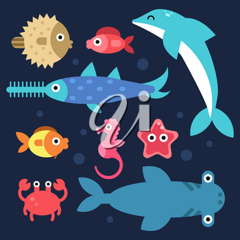 Fishes and others underwater animals. Stylized flat illustrations. Underwater sea fish, ocean nature, dolphin and seahorse vector