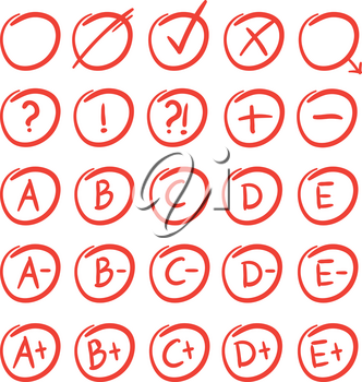 Hand written sketches of red grade notes and results. Vector mark red for test result illustration