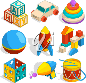 Isometric illustrations of various childrens toys. Car and cube, rocket and pyramid vector