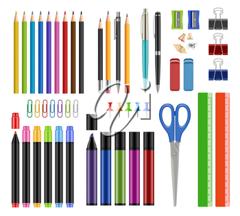 Stationary collection. Pen pencils sharpen rubber school education tools or office supply items vector realistic illustrations isolated. Pencil stationery collection, tool brush stationary