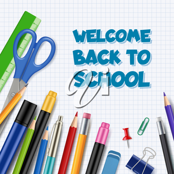 Back to school background. Pen with pencils office supply tools collection stationary vector realistic picture children education theme. Illustration of back school banner with stationary ballpoint