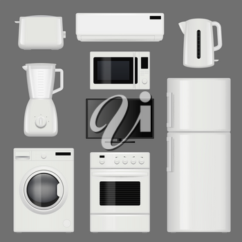Home appliances realistic. Modern stainless steel kitchen tools vector pictures isolated. Illustration of equipment kitchen, wash machine and refrigerator