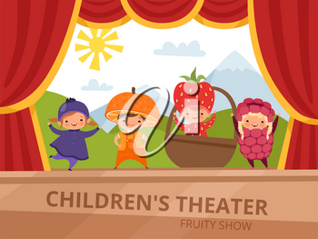 Children on stage. Kids in fruit costumes perform at school party. Fruit raspberry costume, character child. Vector illustration