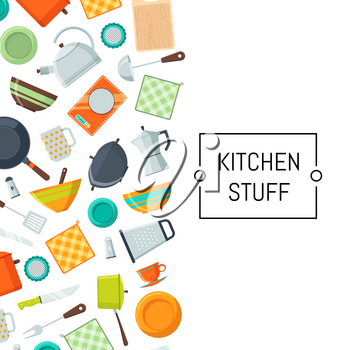 Banner poster vector kitchen utensils flat icons background with place for text illustration
