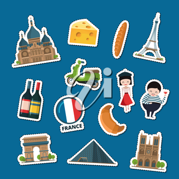 Vector cartoon France sights and objects stickers set illustration. Architecture building
