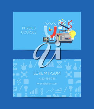 Vector business card for science lab or courses with flat style science icons composition illustration
