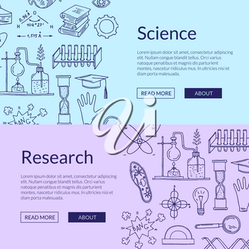 Vector web banner poster templates with hand drawn science elements illustration