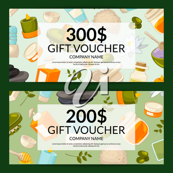 Vector discount or gift card voucher templates with cartoon beauty and spa elements illustration