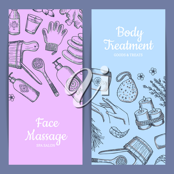 Vector hand drawn spa elements bathtub and bottle, vertical web banners illustration
