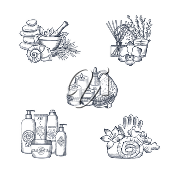 Vector hand drawn spa elements piles of set illustration isolated on white