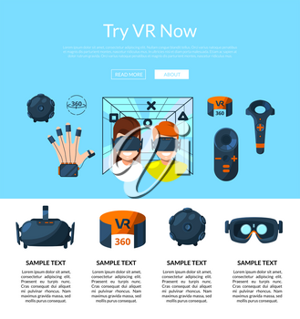 Vector website landing page template for web store with flat style virtual reality elements illustration