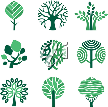 Tree logo. Green eco symbols nature wood tree stylized vector pictures. Eco wood tree, organic natural abstract trees illustration
