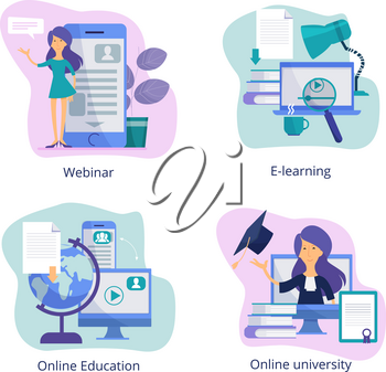 Internet education. Web classroom for distance tutorials online courses and webinars virtual trainings vector illustrations. Knowledge and education, training distance tutorial