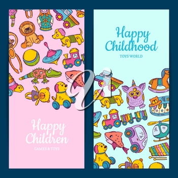 Vector vertical banner or flyer templates with kid toys hand drawn and colored and place for text illustration