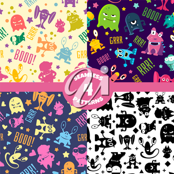 Seamless patterns set with cute cartoon monsters. Vector background with characters smile, alien halloween illustration