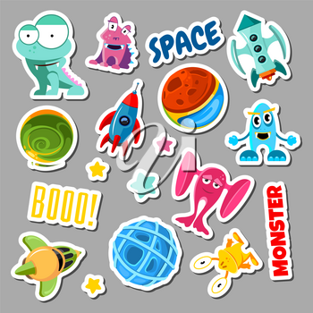 Set of stickers with space objects and monsters. Cartoon vector illustration for children. Sticker monster and space ship