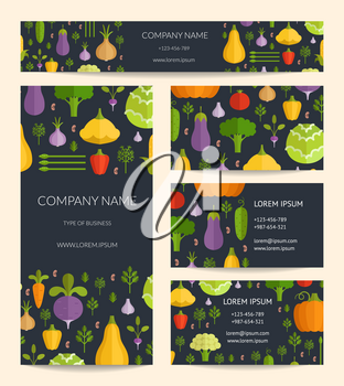 Vector identity business card, brochure and banner templates set with flat vegetables. Business organic healthy food brochure with color vegetable illustration