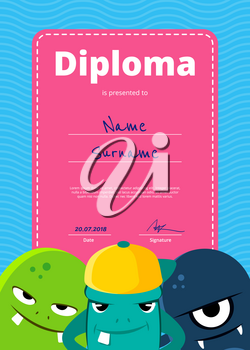 Vector children diploma or certificate with cute monsters on wavy background. Characters monsters illustration
