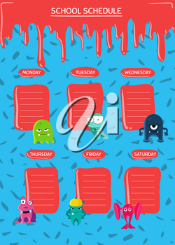 Vector school schedule with cartoon monsters with paint stains on confetti background. School schedule timetable for pupil illustration