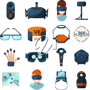 Different symbols of virtual reality. Electronic and computer technology of future. Vector icons set in cartoon style virtual, reality device, electronic gadget equipment for game illustration