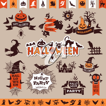 Halloween monochrome emblems for decoration. Vector collection halloween elements for holiday party