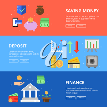 Horizontal banners set. Save your money. Vector concept pictures with different symbols of business and money. Finance deposit, financial investment illustration