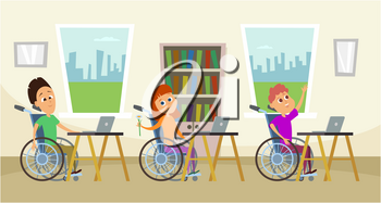 Disabled people in wheelchair sitting at the school desk. Kids in school. Illustration of education school, person in wheelchair vector