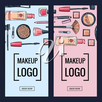 Vector makeup brand banners or flyers with flat style makeup and skincare backgrounds illustration