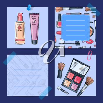 Vector hand drawn makeup products, foundation, shadows lined notes set illustration