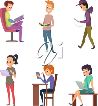 Different people male and female reading books. Student study at library. Vector character student read book and learning