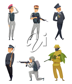 Military soldiers with various weapons. Vector characters with gun, woman warrior illustration