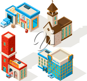 Exteriors of municipal buildings. Vector 3d pictures. Post office and police station illustration