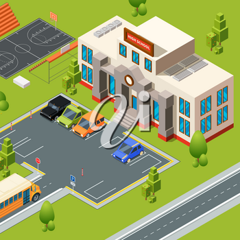 Exterior of school. Territory of institute or high school with stadium. Isometric building school and college, education territory. Vector illustration