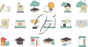 Education online symbols. Special learning courses school university with distance work online tutorials vector thin line colored icons. Illustration of education school and university online