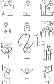 Business people icon. Team office managers relations user successful people dialog vector simple business symbols. Office team businessman, presentation and organization illustration