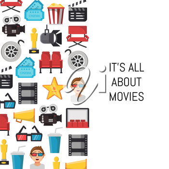 Banner vector colored flat cinema icons background with place for text illustration