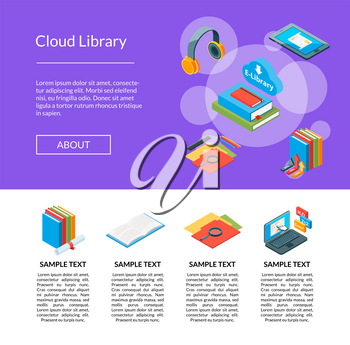 Banner and poster vector isometric online education icons landing page template illustration