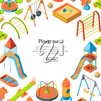 Vector isometric playground objects background with place for text illustration. Happy childhood background