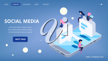 Social media landing page. Virtual communication vector concept. Isometric people with gadgets, laptop, smartphones. Social media technology, page social landing