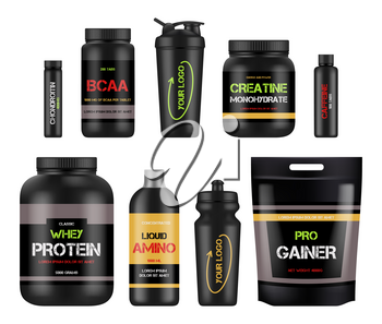 Sport nutrition labels. Protein and amino bcaa fitness vitamin design packages for healthy powerful products vector. Illustration bcaa and protein nutrition, supplement to fitness and sport