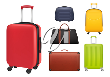 Suitcase realistic. Luggage tourists fashioned colored objects bags for travellers vector. Illustration baggage and luggage realistic mockup